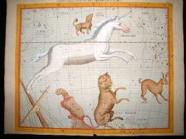 Flamsteed Atlas Coelestis 1781 LG Folio Celestial Map. Monoceros, Canis Major 13